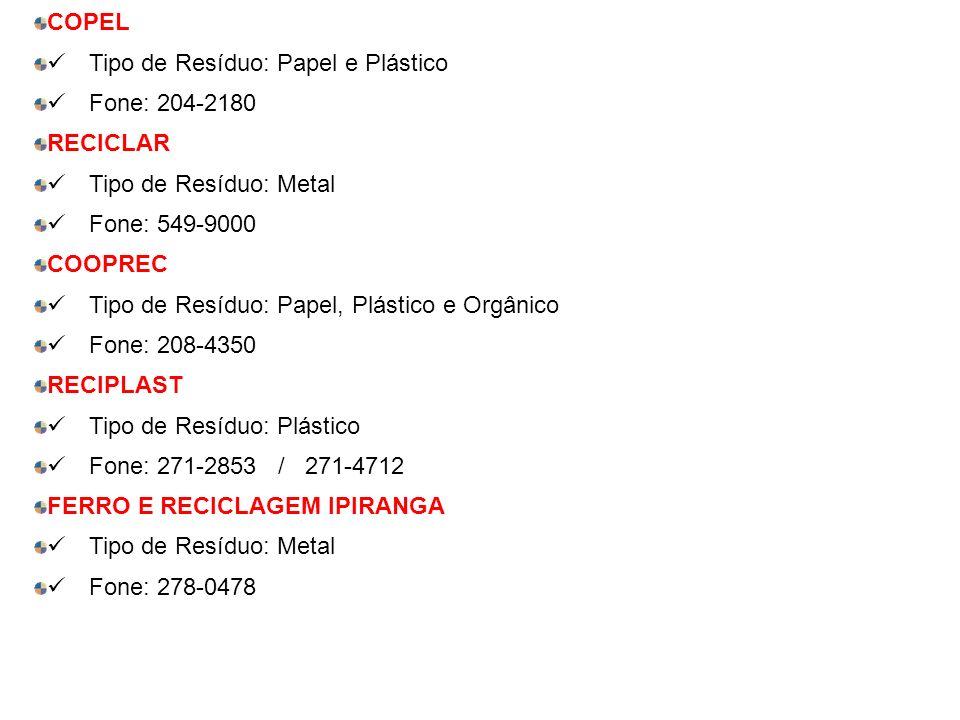 COPEL ü Tipo de Resíduo: Papel e Plástico. ü Fone: 204-2180. RECICLAR. ü Tipo de Resíduo: Metal.