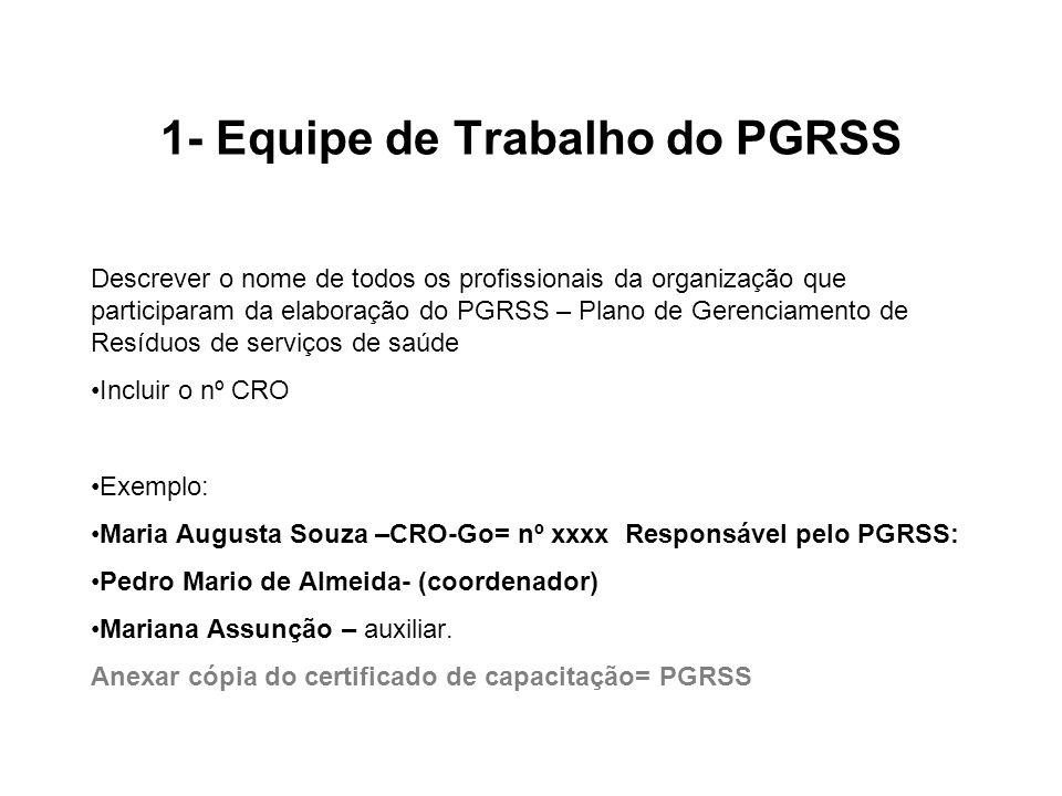 1- Equipe de Trabalho do PGRSS