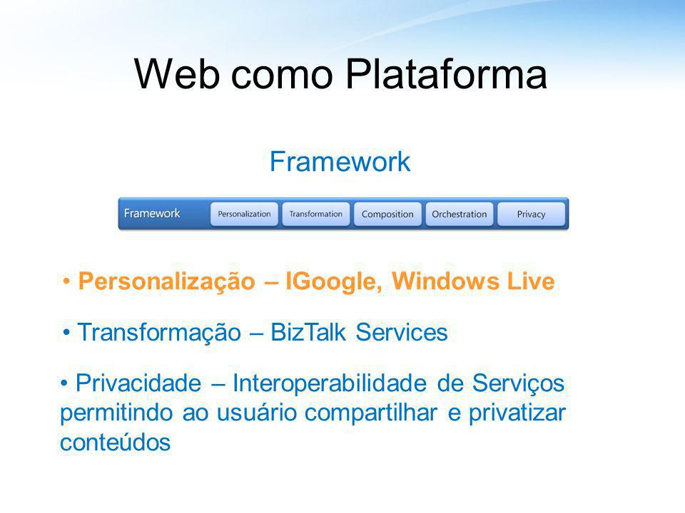 Web como Plataforma Framework Personalização – IGoogle, Windows Live