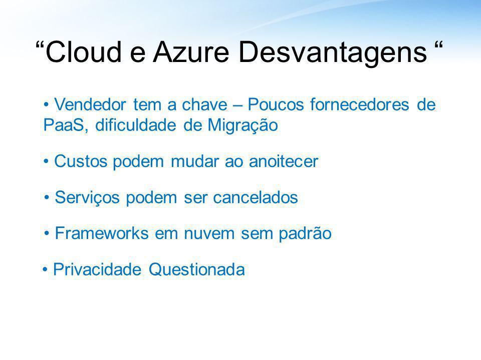 Cloud e Azure Desvantagens
