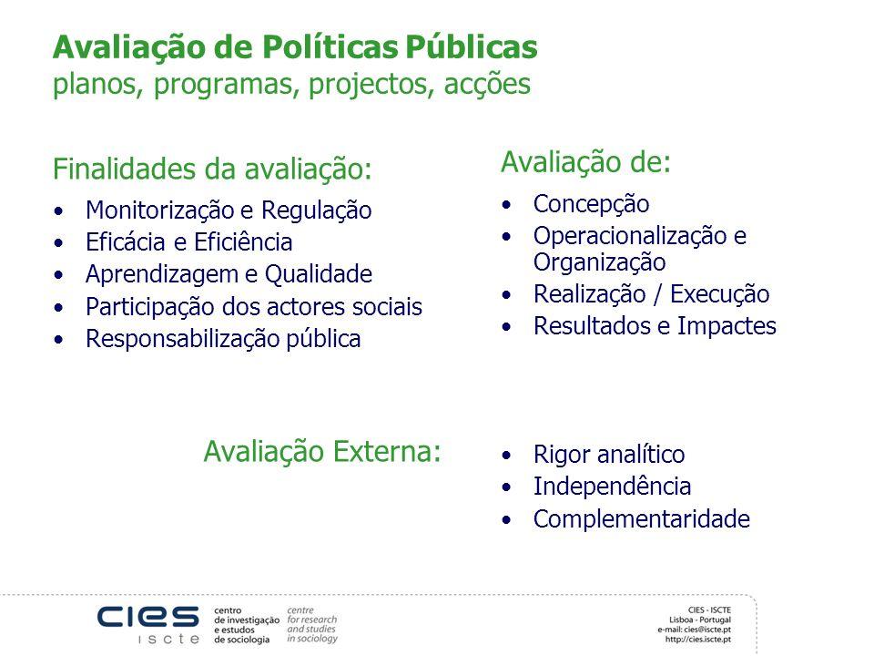 Avaliação de Políticas Públicas planos, programas, projectos, acções