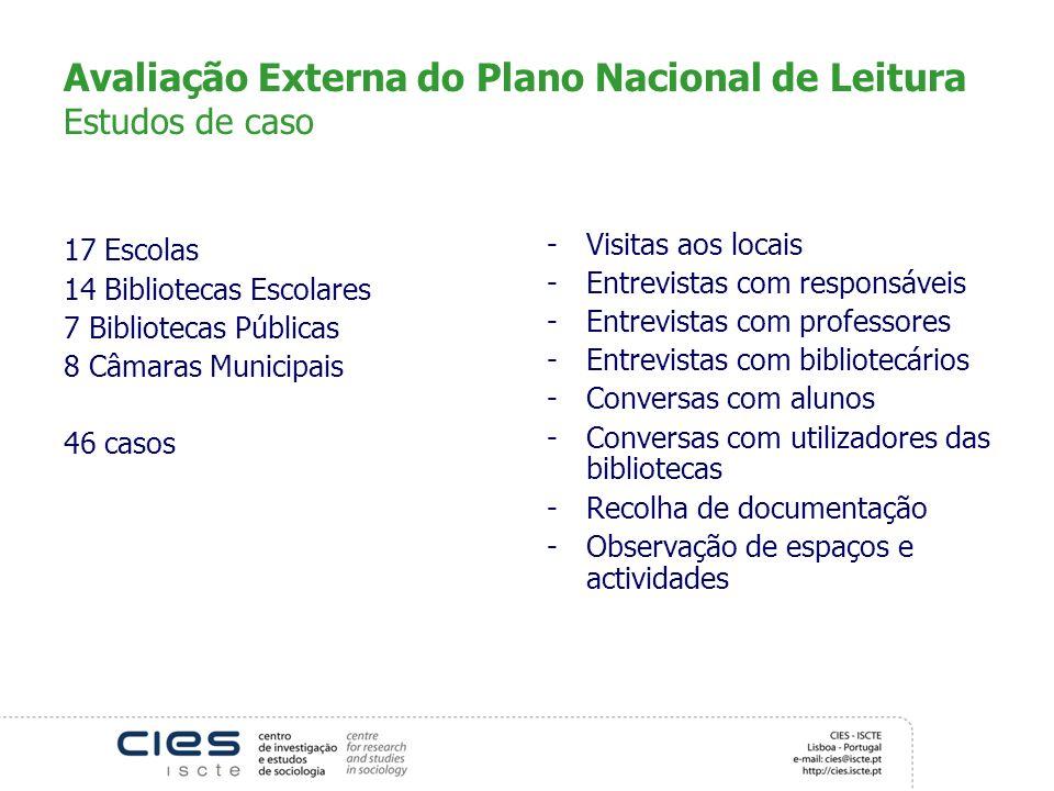 Avaliação Externa do Plano Nacional de Leitura Estudos de caso