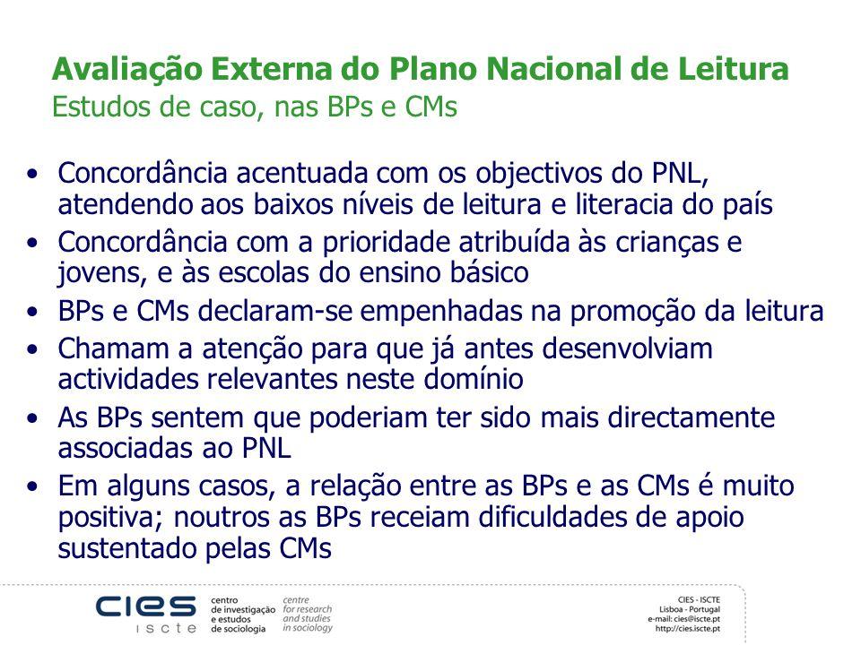 Avaliação Externa do Plano Nacional de Leitura Estudos de caso, nas BPs e CMs