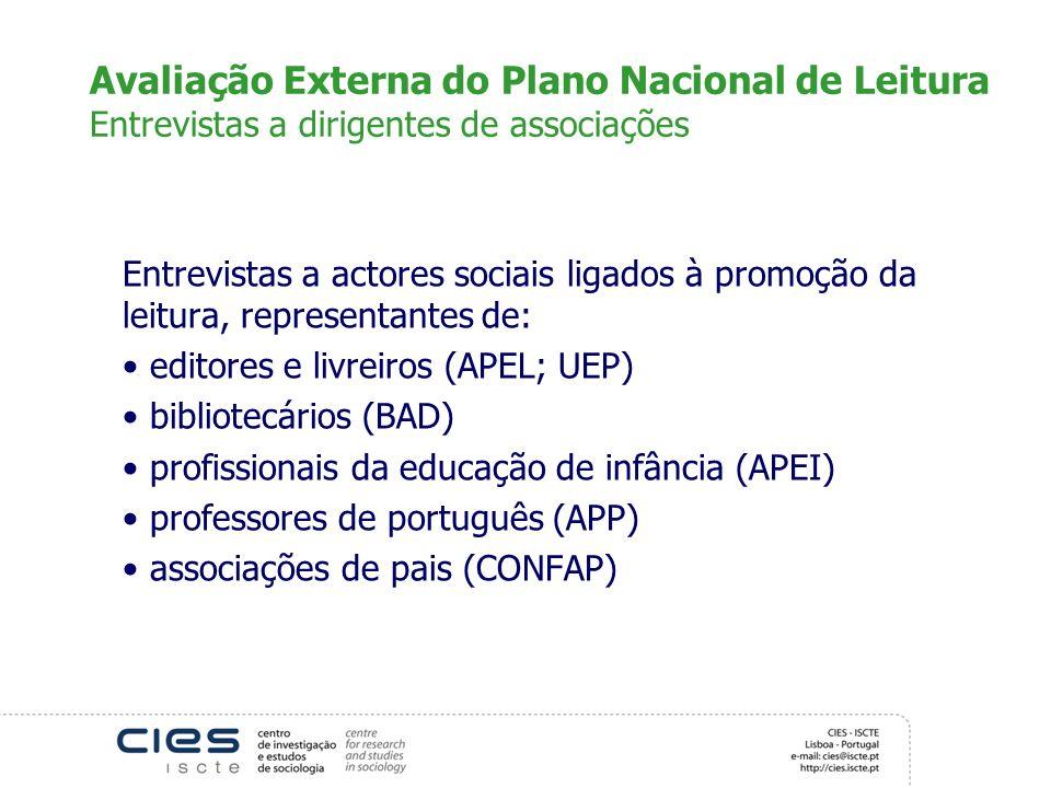 Avaliação Externa do Plano Nacional de Leitura Entrevistas a dirigentes de associações