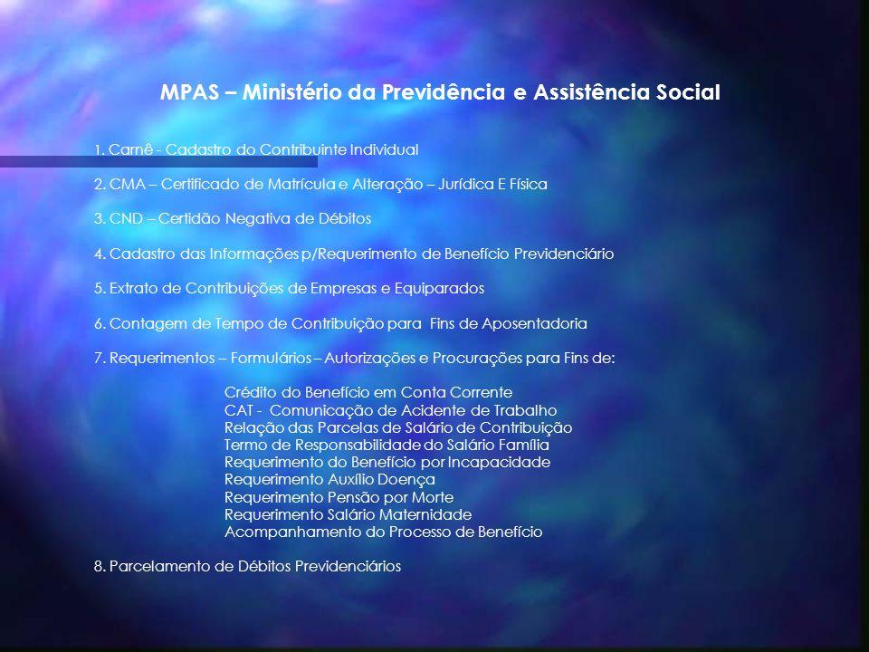 MPAS – Ministério da Previdência e Assistência Social
