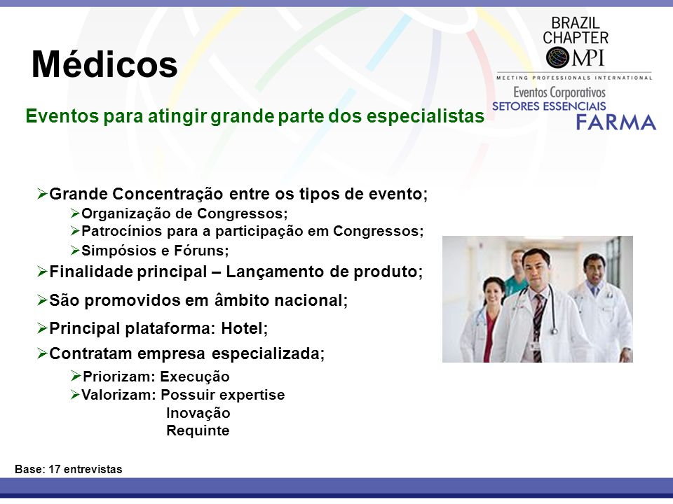 Médicos Eventos para atingir grande parte dos especialistas