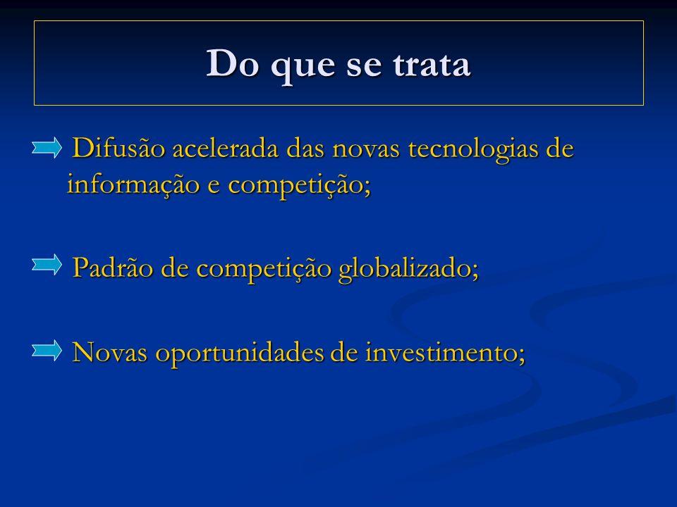 Do que se trata Difusão acelerada das novas tecnologias de informação e competição; Padrão de competição globalizado;
