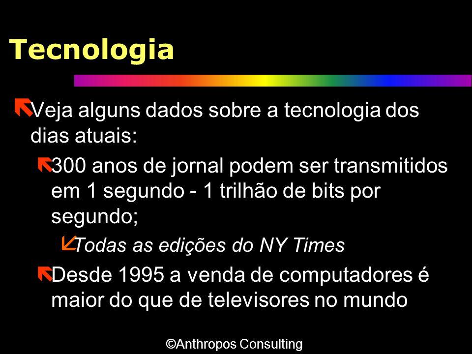 Tecnologia Veja alguns dados sobre a tecnologia dos dias atuais: