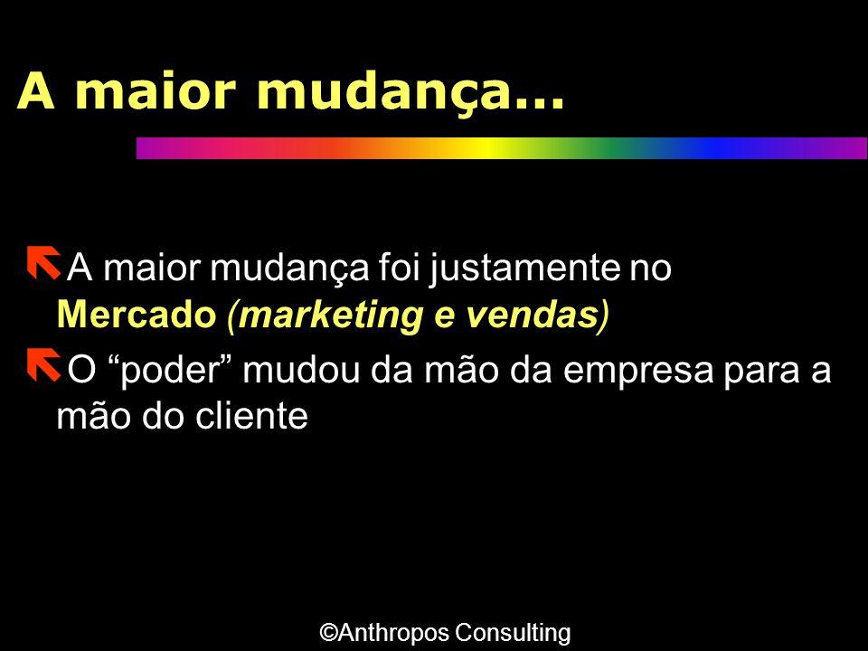 A maior mudança... A maior mudança foi justamente no Mercado (marketing e vendas) O poder mudou da mão da empresa para a mão do cliente.