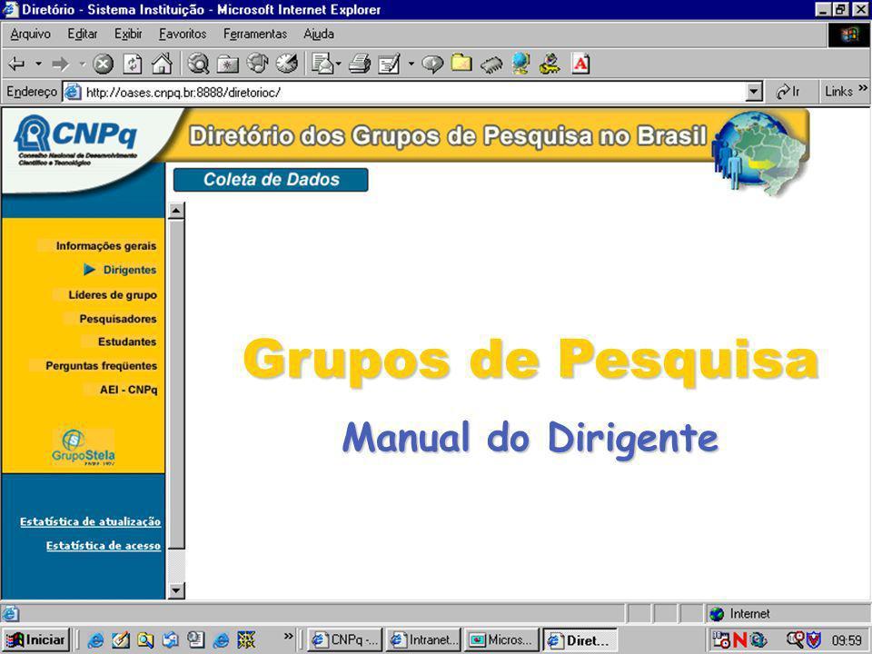Grupos de Pesquisa Manual do Dirigente