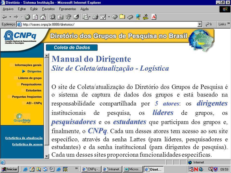 Manual do Dirigente Site de Coleta/atualização - Logística