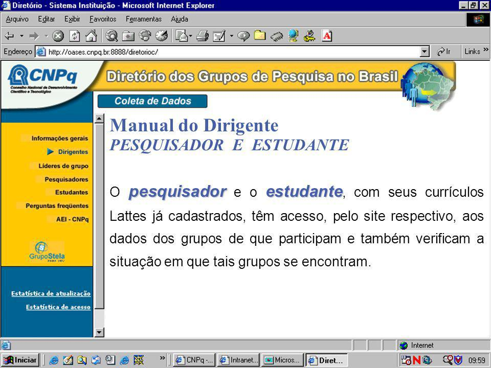 Manual do Dirigente PESQUISADOR E ESTUDANTE