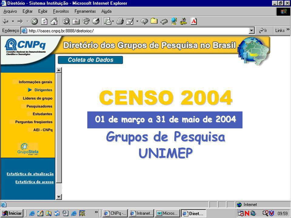 CENSO 2004 01 de março a 31 de maio de 2004 Grupos de Pesquisa UNIMEP