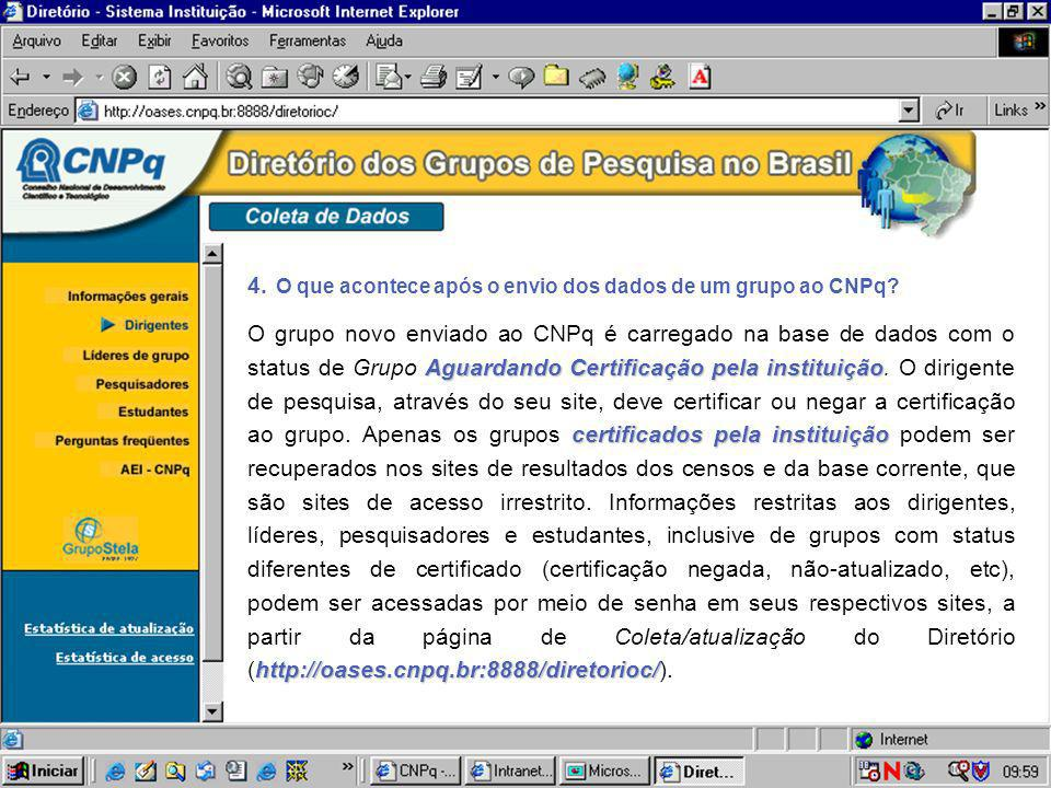 4. O que acontece após o envio dos dados de um grupo ao CNPq