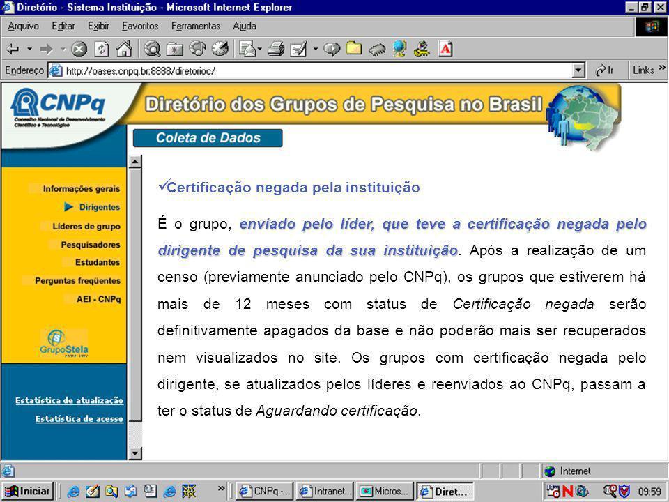 Certificação negada pela instituição