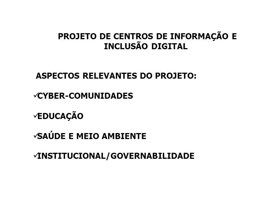 PROJETO DE CENTROS DE INFORMAÇÃO E INCLUSÃO DIGITAL