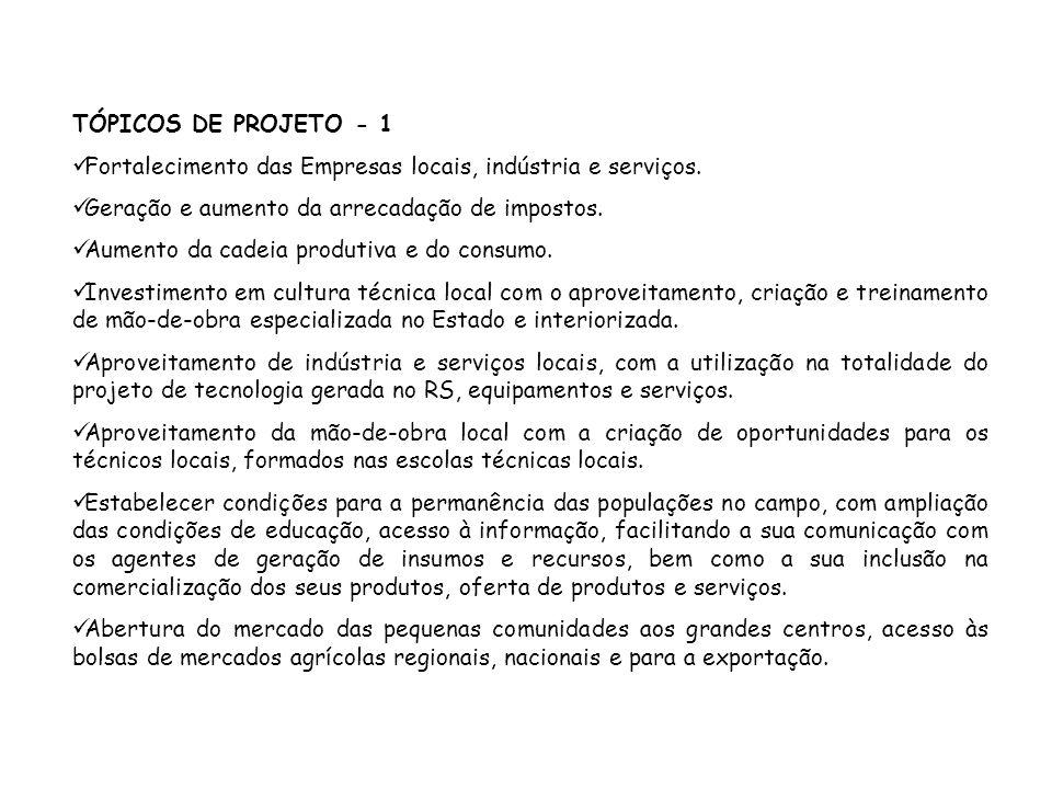 TÓPICOS DE PROJETO - 1 Fortalecimento das Empresas locais, indústria e serviços. Geração e aumento da arrecadação de impostos.