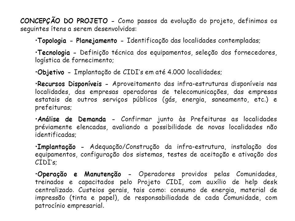CONCEPÇÃO DO PROJETO - Como passos da evolução do projeto, definimos os seguintes ítens a serem desenvolvidos: