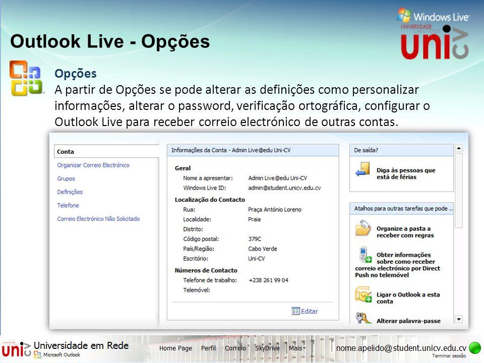 Outlook Live - Opções Opções
