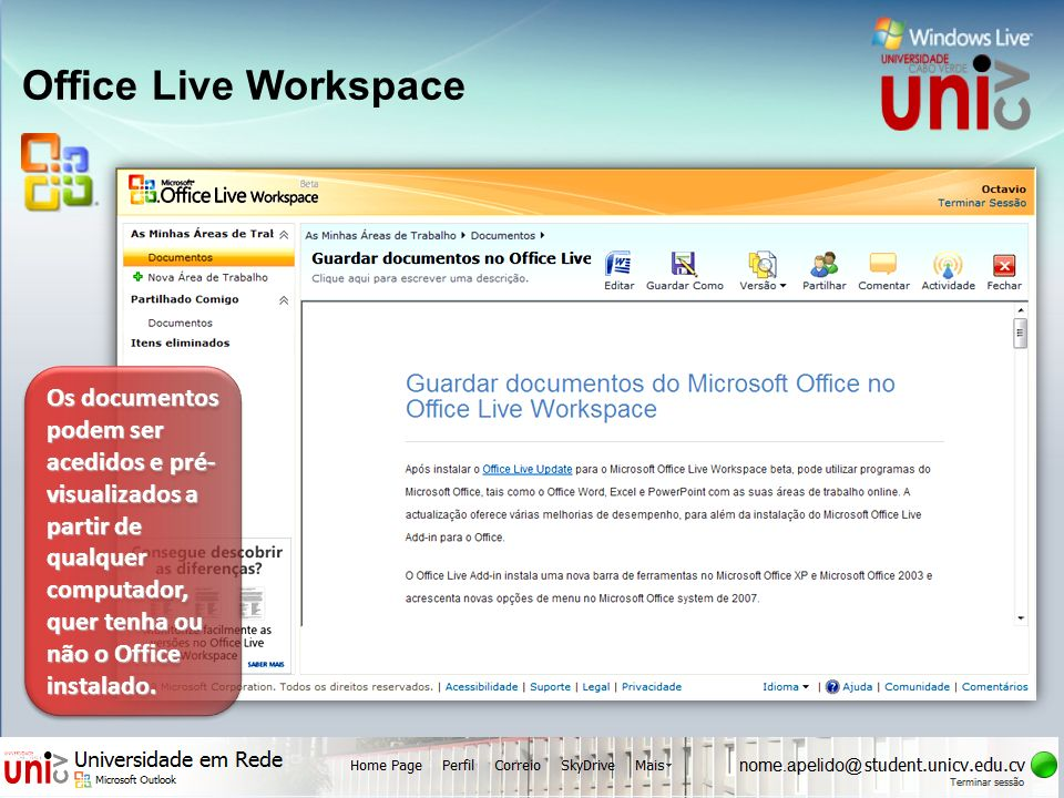 UNIVERSIDADE uni CABO VERDE cv Office Live Workspace