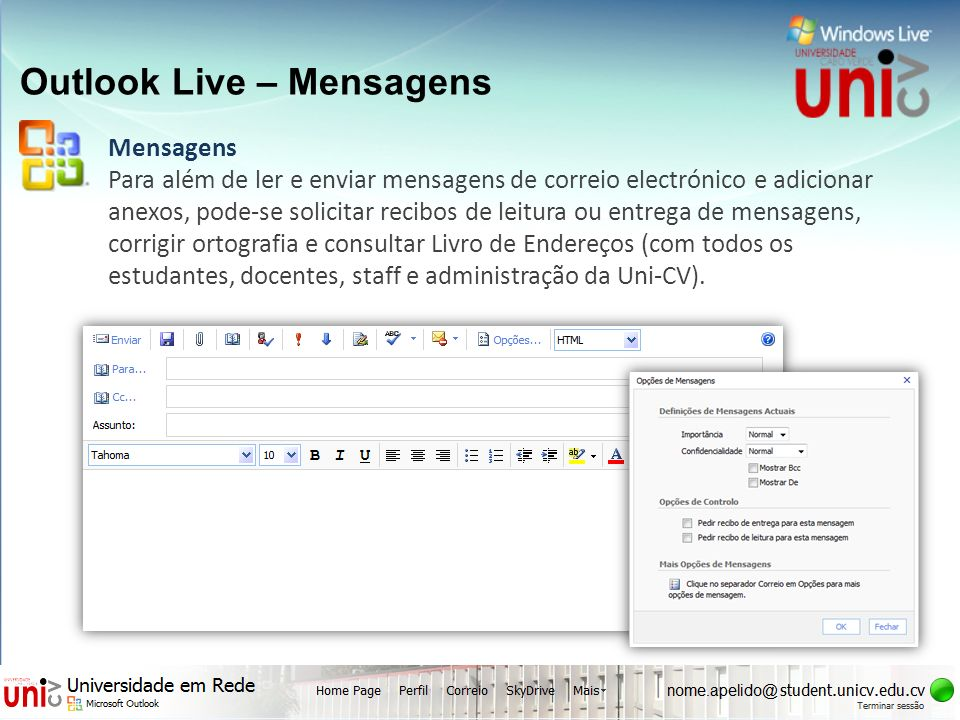 Outlook Live – Mensagens