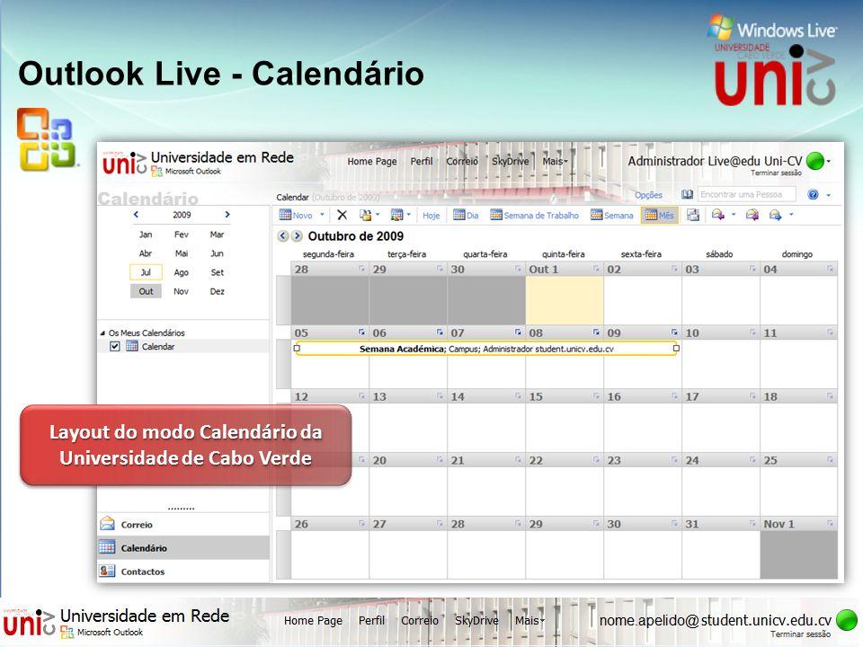 Outlook Live - Calendário