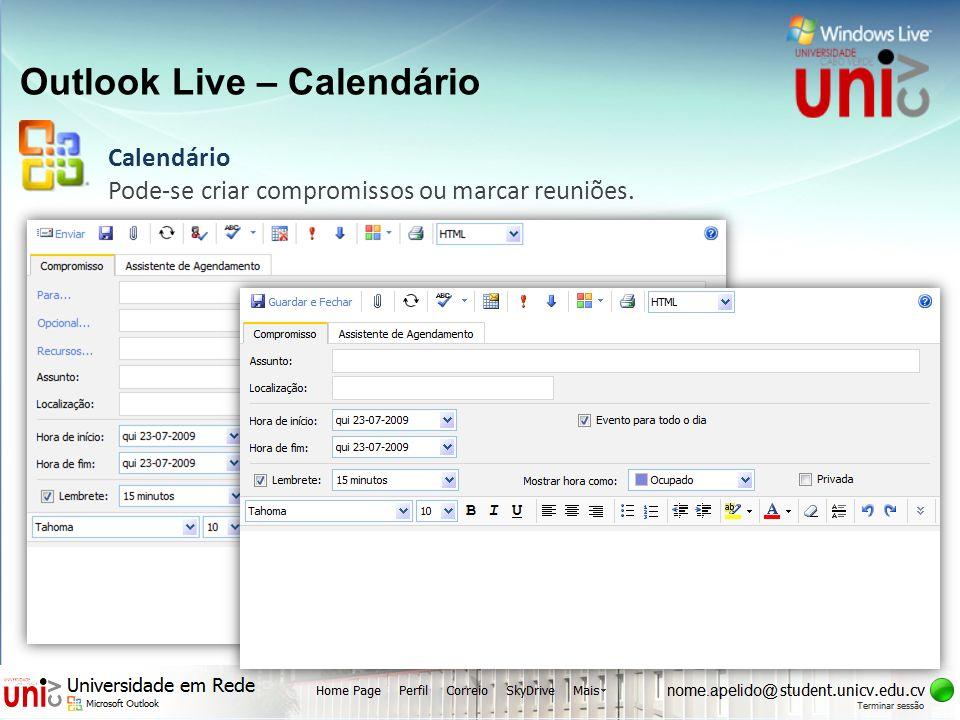 Outlook Live – Calendário