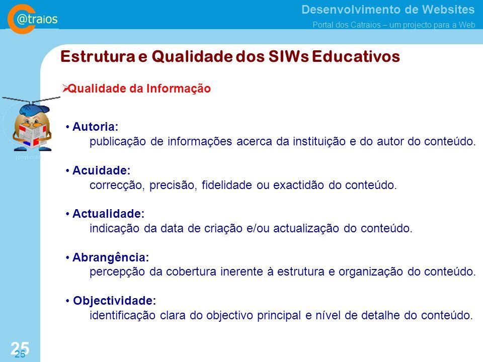 Estrutura e Qualidade dos SIWs Educativos
