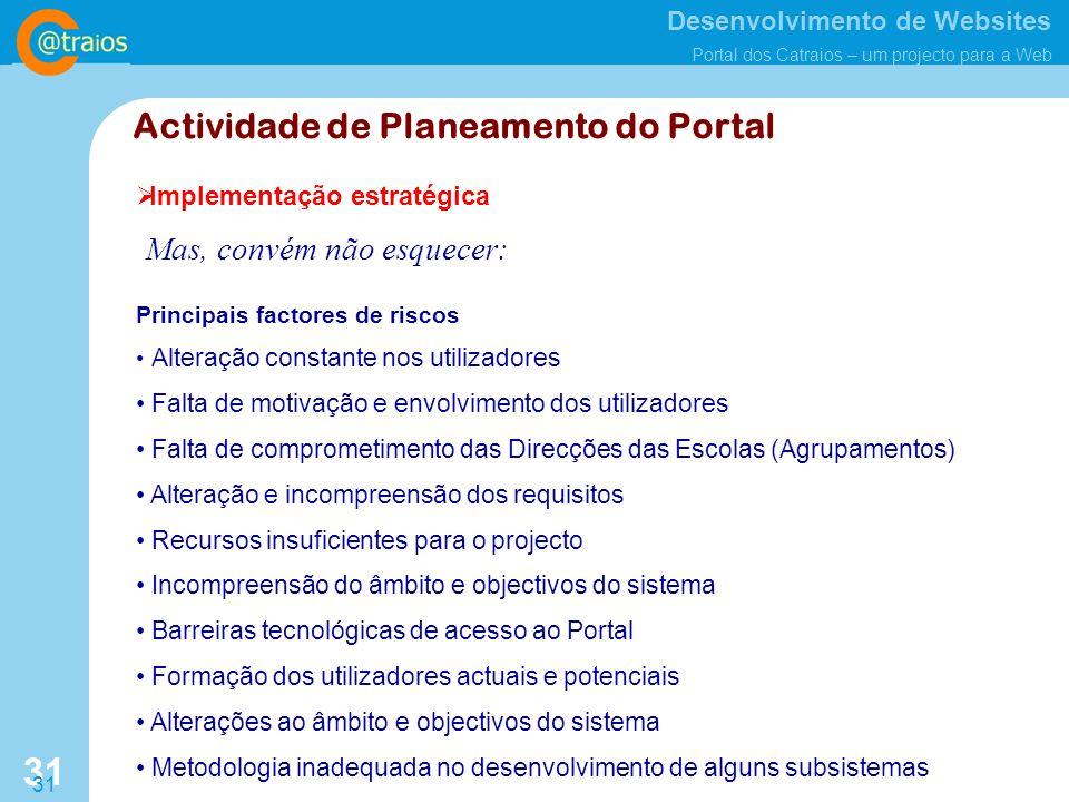 Actividade de Planeamento do Portal