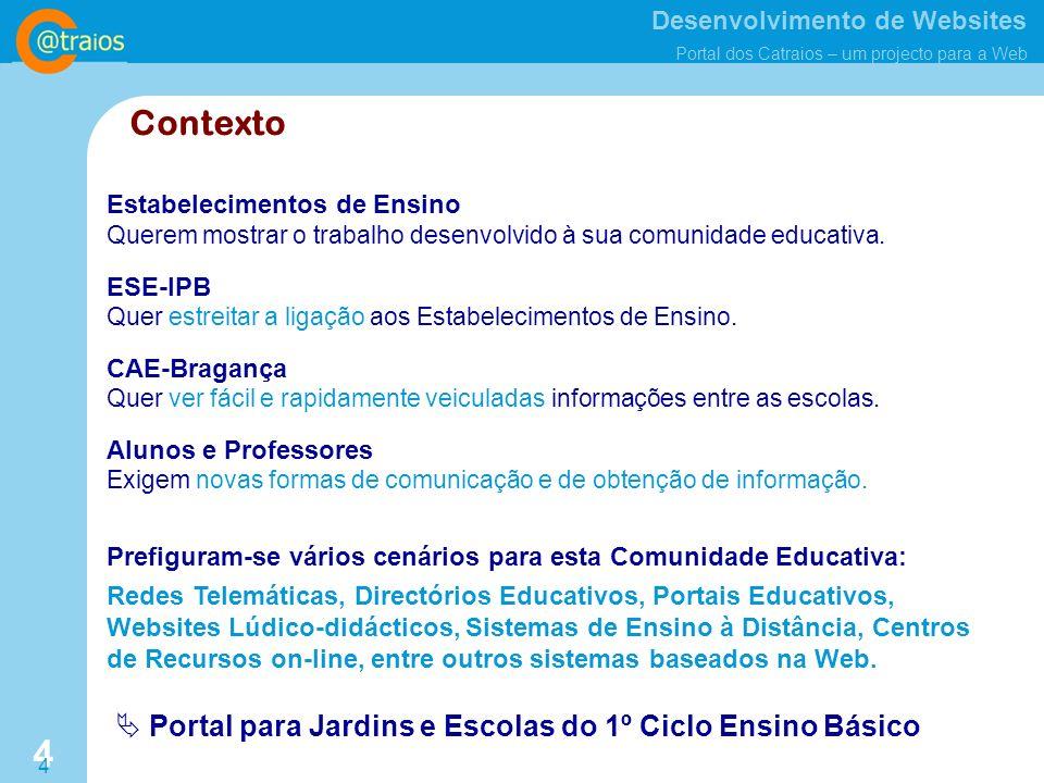 Contexto  Portal para Jardins e Escolas do 1º Ciclo Ensino Básico