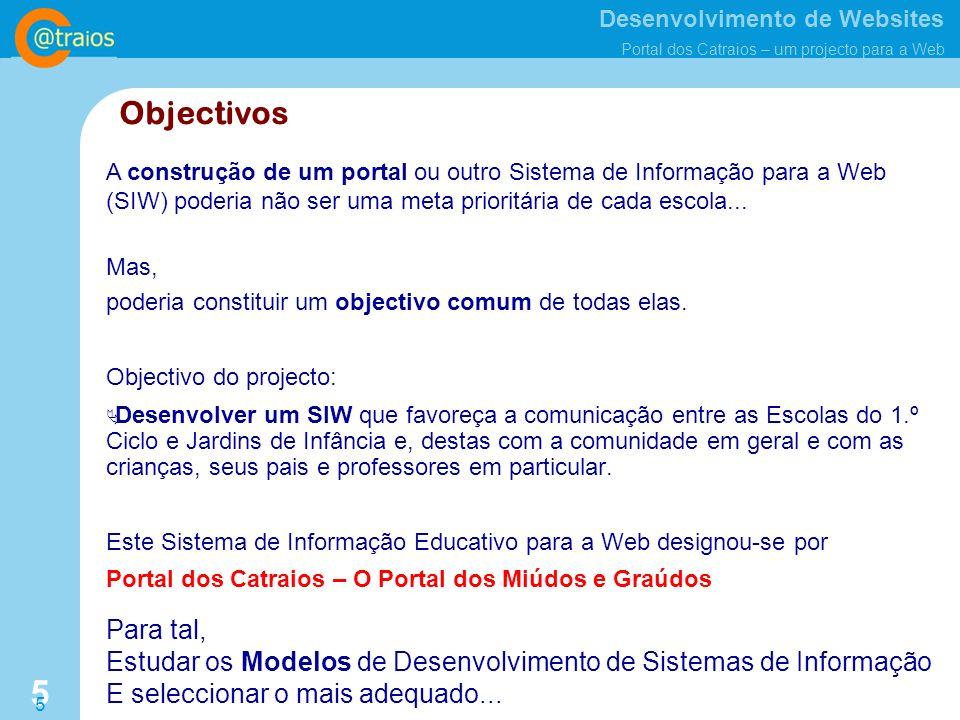 Objectivos A construção de um portal ou outro Sistema de Informação para a Web (SIW) poderia não ser uma meta prioritária de cada escola...