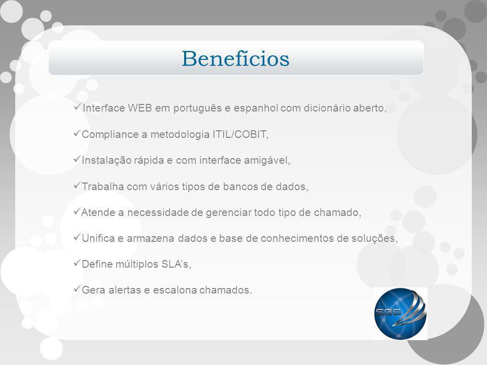 Benefícios Interface WEB em português e espanhol com dicionário aberto, Compliance a metodologia ITIL/COBIT,