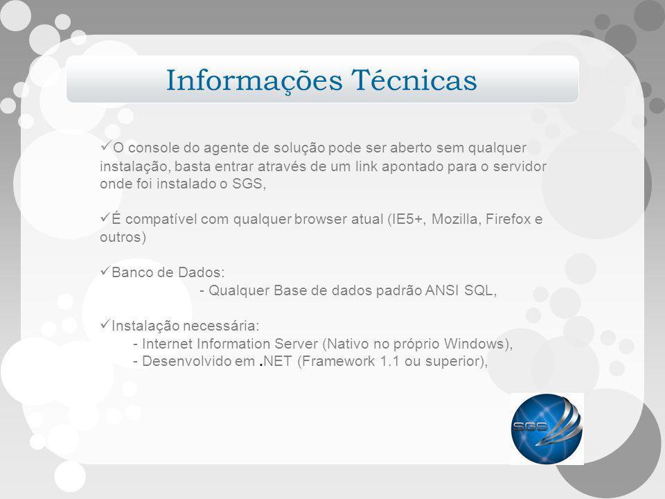 Informações Técnicas O console do agente de solução pode ser aberto sem qualquer.