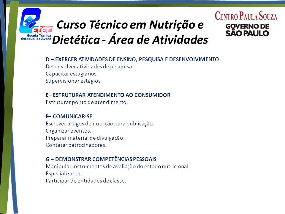 Curso Técnico em Nutrição e Dietética - Área de Atividades