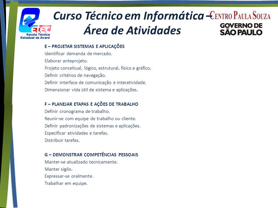 Curso Técnico em Informática – Área de Atividades