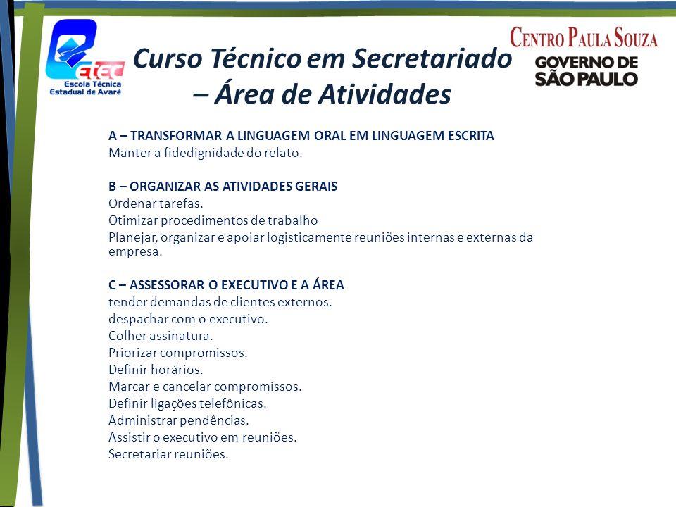 Curso Técnico em Secretariado – Área de Atividades