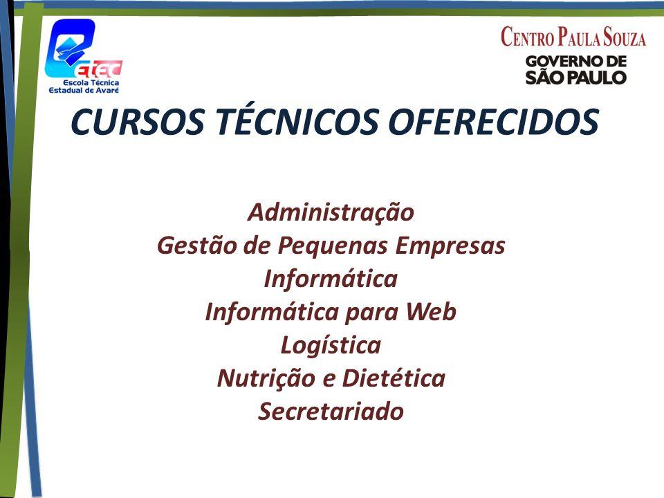 CURSOS TÉCNICOS OFERECIDOS