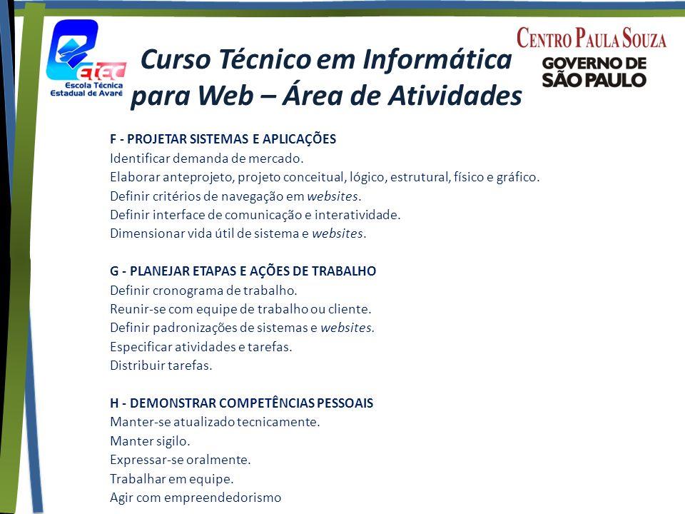 Curso Técnico em Informática para Web – Área de Atividades