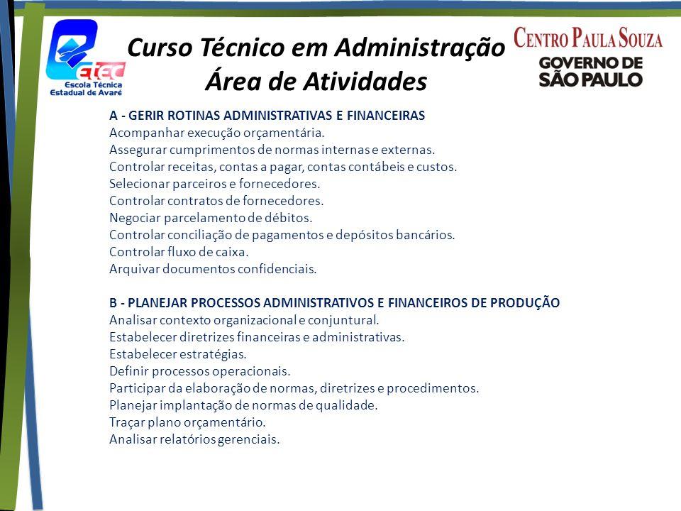 Curso Técnico em Administração Área de Atividades