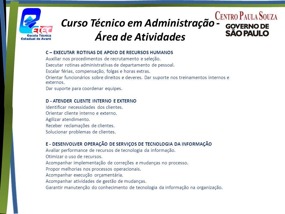 Curso Técnico em Administração - Área de Atividades