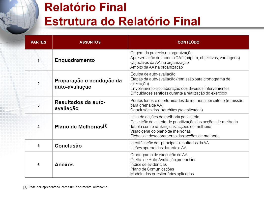 Relatório Final Estrutura do Relatório Final