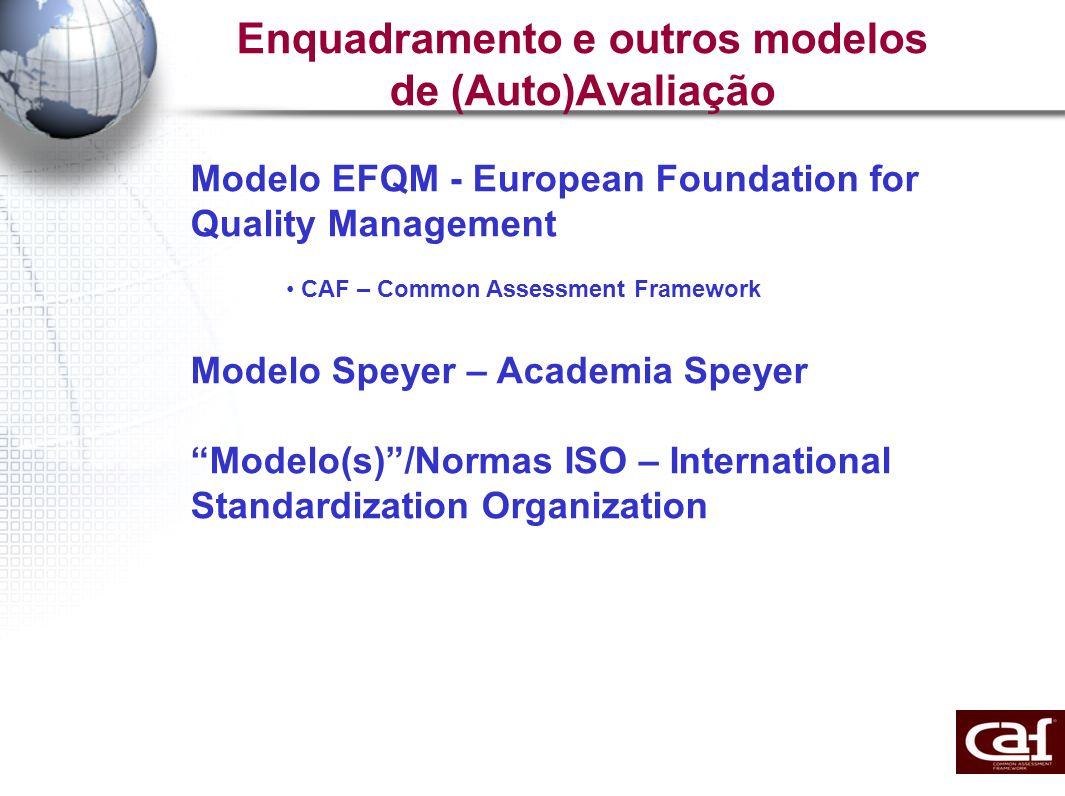 Enquadramento e outros modelos de (Auto)Avaliação