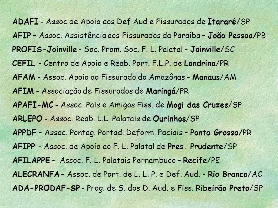ADAFI - Assoc de Apoio aos Def Aud e Fissurados de Itararé/SP