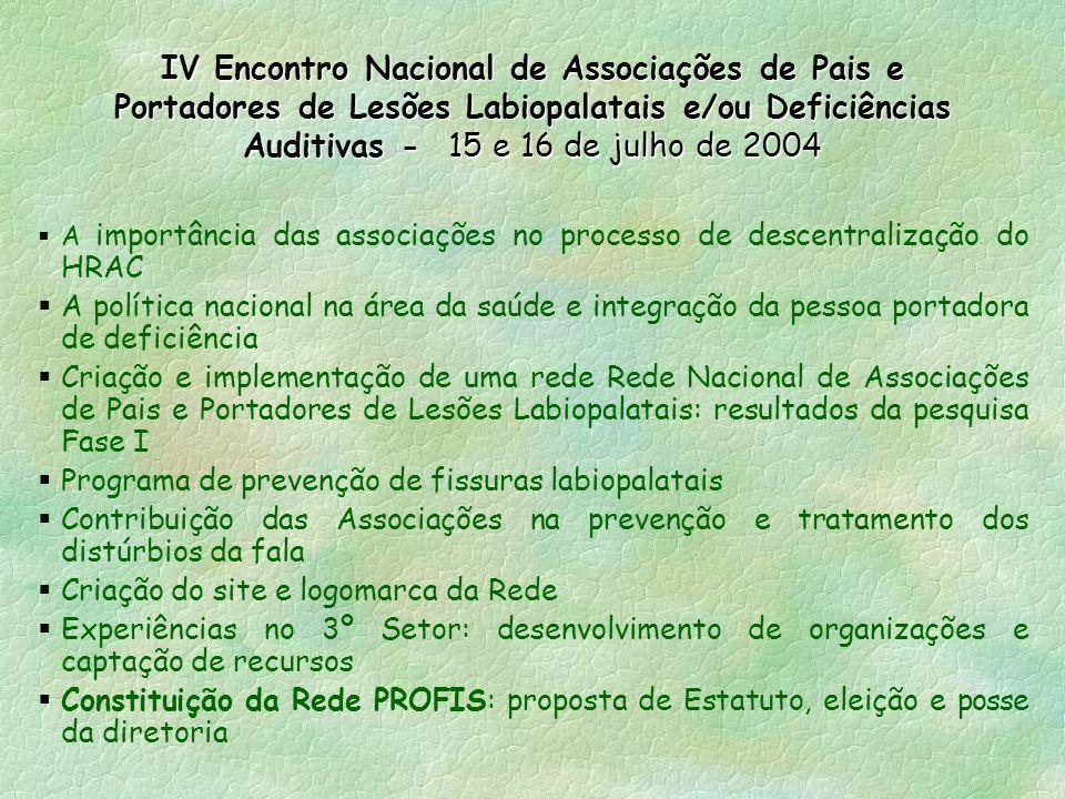 IV Encontro Nacional de Associações de Pais e Portadores de Lesões Labiopalatais e/ou Deficiências Auditivas - 15 e 16 de julho de 2004