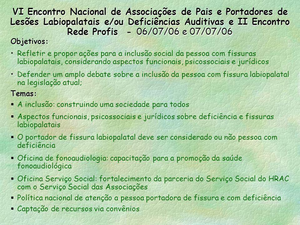 VI Encontro Nacional de Associações de Pais e Portadores de Lesões Labiopalatais e/ou Deficiências Auditivas e II Encontro Rede Profis - 06/07/06 e 07/07/06