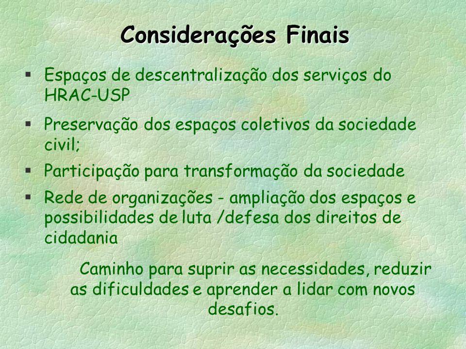 Considerações Finais Espaços de descentralização dos serviços do HRAC-USP. Preservação dos espaços coletivos da sociedade civil;