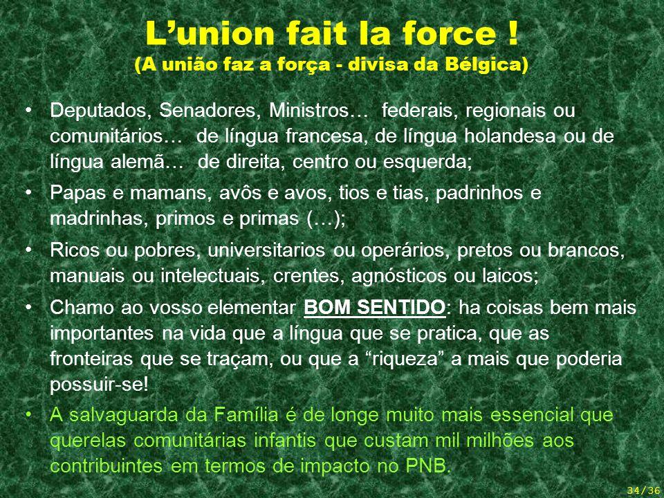L'union fait la force ! (A união faz a força - divisa da Bélgica)