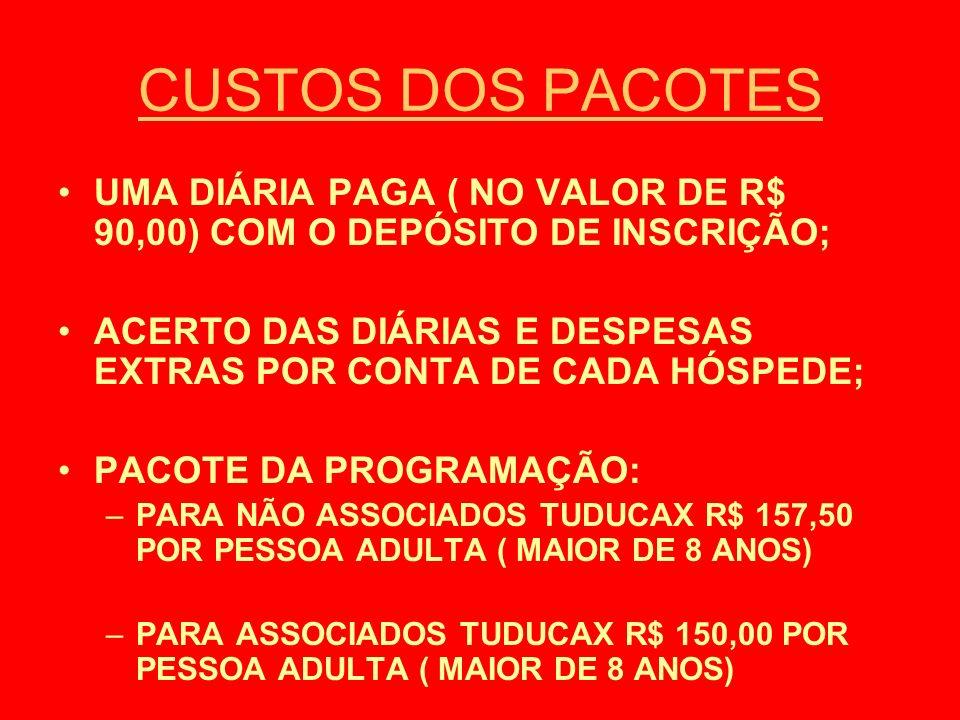 CUSTOS DOS PACOTES UMA DIÁRIA PAGA ( NO VALOR DE R$ 90,00) COM O DEPÓSITO DE INSCRIÇÃO;