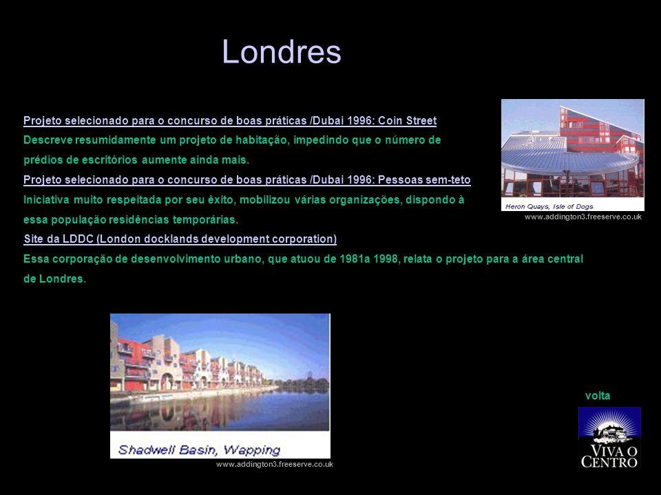 Londres Projeto selecionado para o concurso de boas práticas /Dubai 1996: Coin Street.