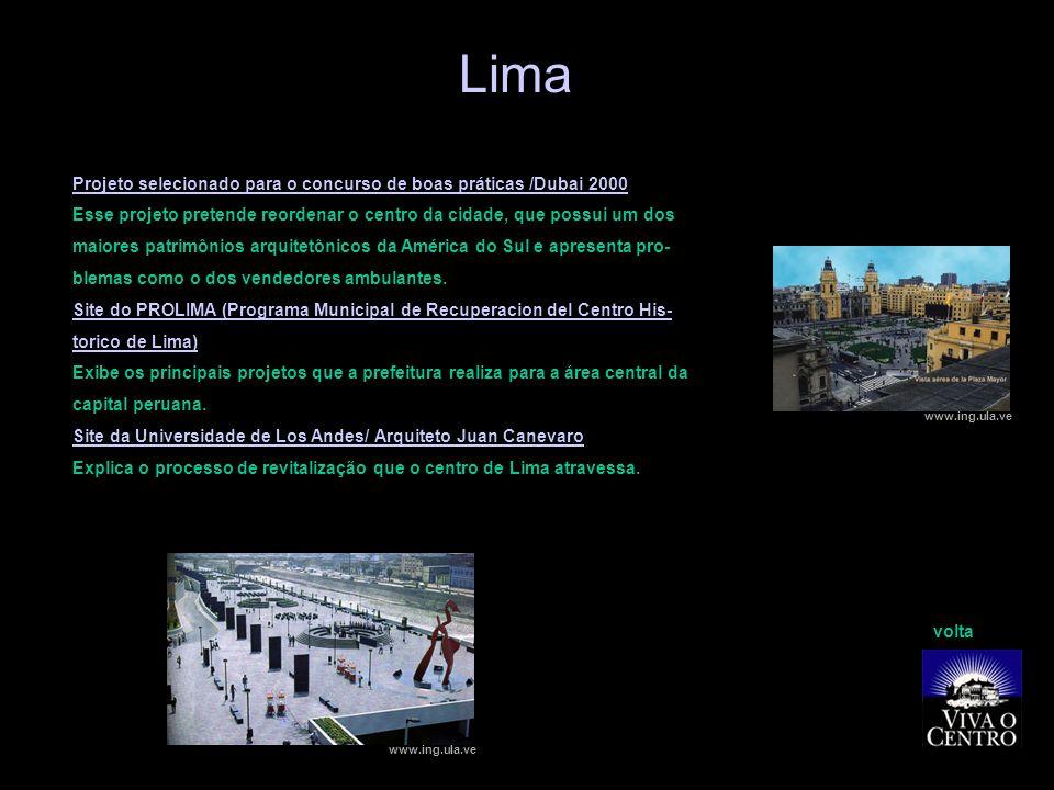 Lima Projeto selecionado para o concurso de boas práticas /Dubai 2000